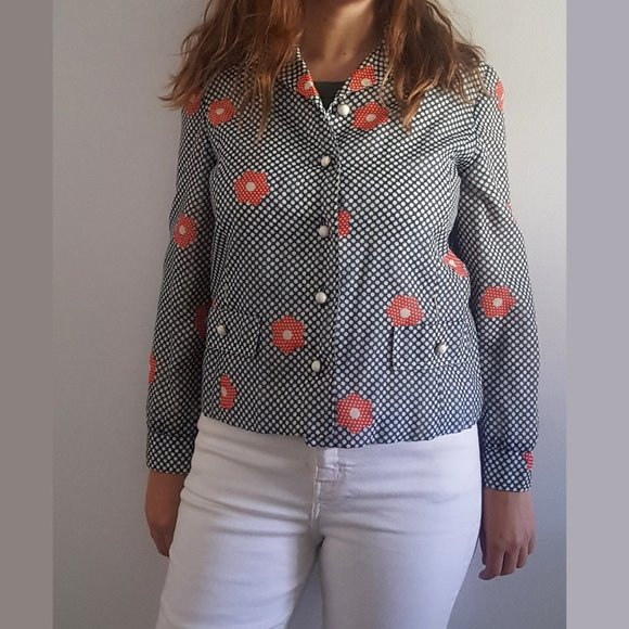 1960's MOD Polka Dot & Floral Fitted Jacket